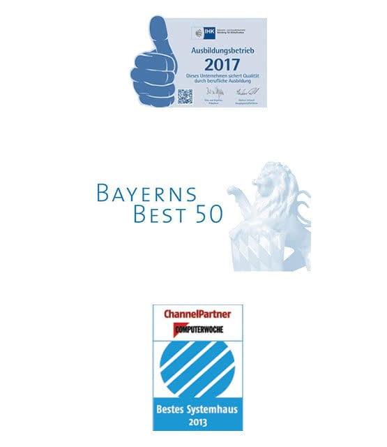 Logos diverser Auszeichnungen der MR Datentechnik