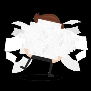 Comicfigur mit großem Papierstapel