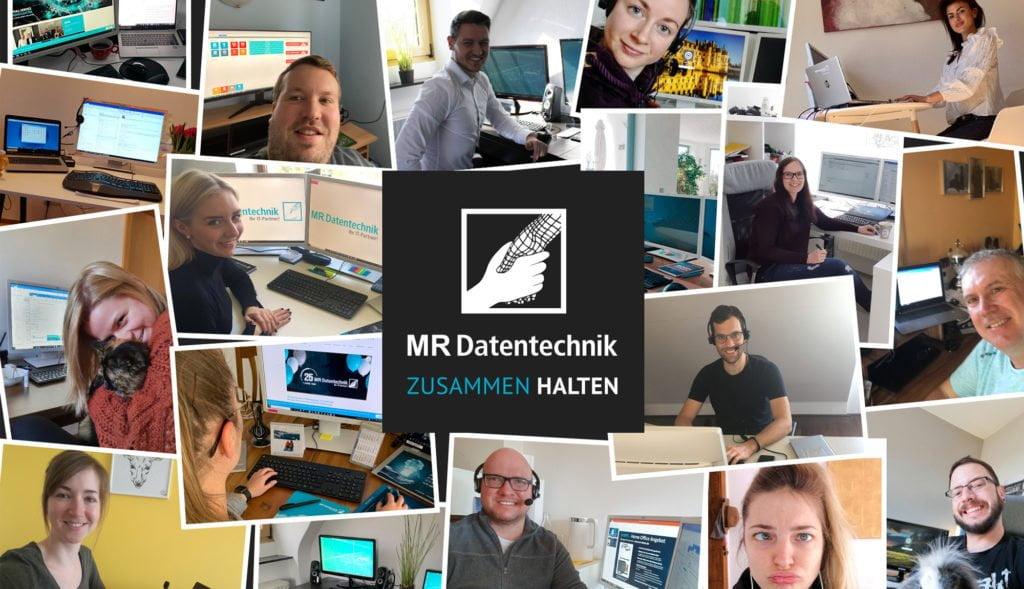 Collage aus Homeoffice Bildern der MR Kollegen